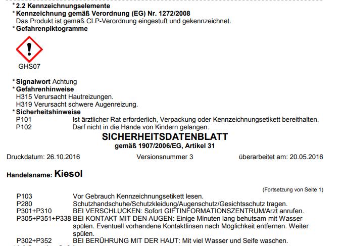 Verrassend Set REMMERS KIESOL 30 KG Verkieselung Abdichtung + 18 OX-08